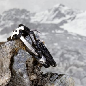 Bracelet with ice axe and carabiner
